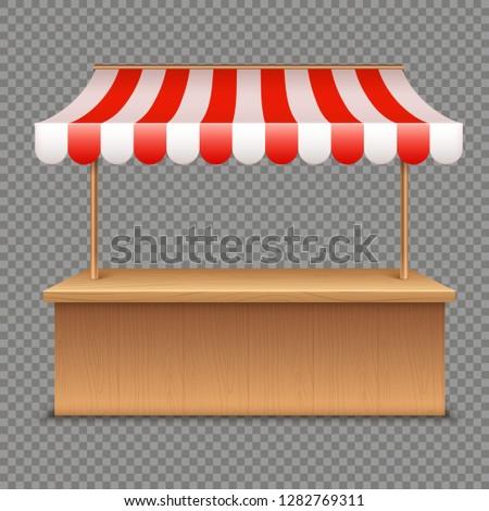 empty market stall wooden tent
