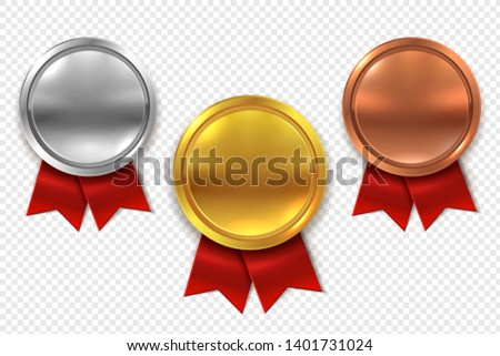 Empty medals. Blank round gold silver and bronze metal medal with red ribbons isolated vector set #1401731024