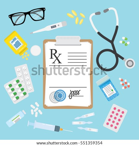 Empty medical prescription Rx form and Stethoscope, medicines, pills, tablets, ampulla, bottles, troches isolated. Healthcare. Vector illustration Flat style #551359354