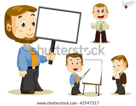 Empty Message Board. Business People Vector