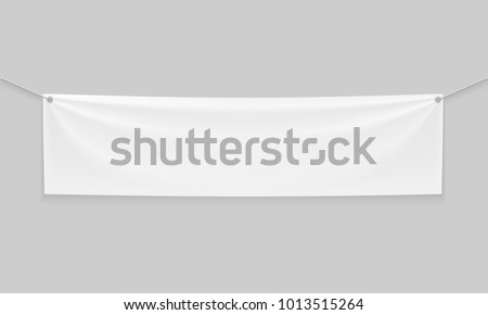 Empty mockup white textile banner with folds on ropes. . Isolated vector illustration on a light background.
