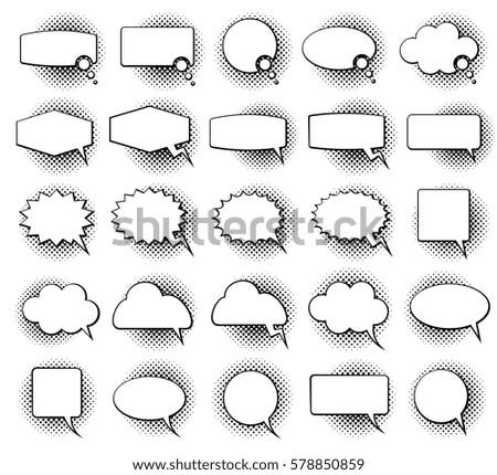 Empty monochrome speech comic text bubbles with halftone dot shadow effect vector set