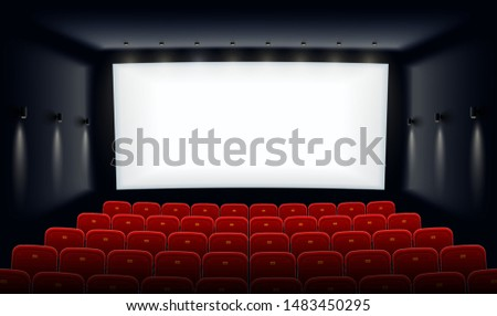 Empty movie theatre. Cinema hall with white screen and red chairs. Modern movies theater for festivals and films presentation. Interior design. Online cinema concept. Vector illustration.