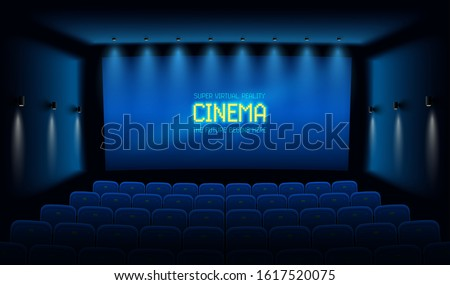 Empty movie theatre. Dark cinema hall with with blue screen. Modern movies theater for festivals and films presentation. Interior design. Online Cinema concept. Vector illustration.