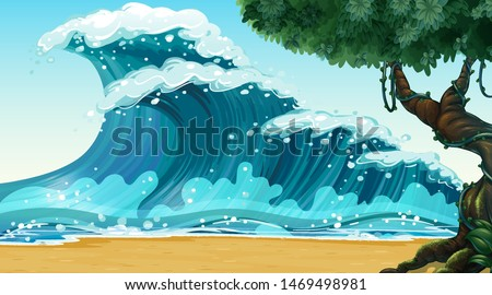 Empty nature beach ocean coastal landscape illustration