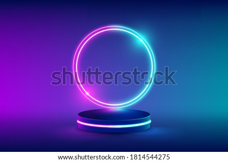 Empty neon stage for product replacement with futuristic circles blue and pink neon light background. vector illustration