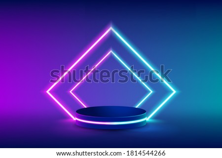 Empty neon stage for product replacement with futuristic rectangle blue and pink neon light background. vector illustration