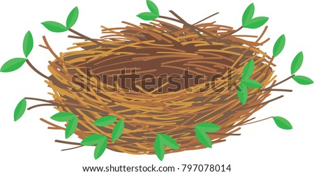 empty nest with branches and leaves stock photo