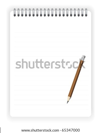 Empty notebook with pencil for your text