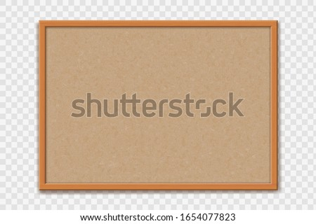 Empty office cork bulletin  board template for worksheet. Mockup isolated on a transparent background. Vector illustration Stock photo ©