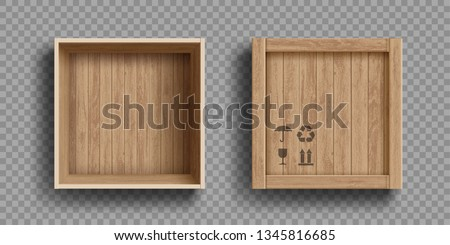 Empty open and closed wooden box. Isolated on a transparent background. Vector illustration.