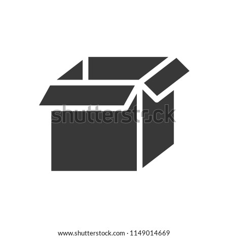 empty open box, shipping and delivery concept set, glyph icon