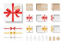 Empty open craft gift box, red color bow knot, ribbon and tag set isolated on white background. Happy birthday, Christmas, Wedding, Valentine Day package concept. Vector illustration 3d top view