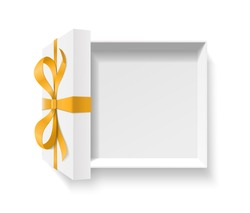 Empty open gift box with golden color bow knot, ribbon isolated on white background. Happy birthday, Christmas, New Year, Wedding or Valentine Day package concept. 3d vector illustration, top view