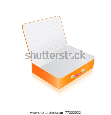 Empty opened orange suitcase isolated on white background. Vector Illustration