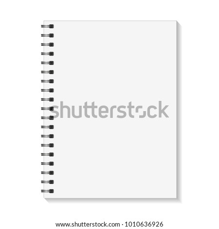 Empty pages book with binder metal spiral template. Notebook mock up isolated on white background. Vector illustration