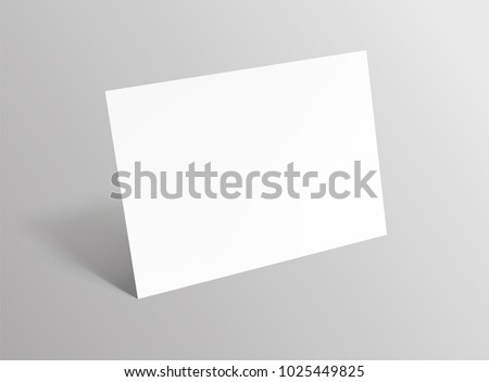 Empty paper sheet.A4 horizontal format paper with shadows on gray background. Magazine, booklet, postcard, banner, flyer, business card or brochure mockup. Vector Illustration EPS10.