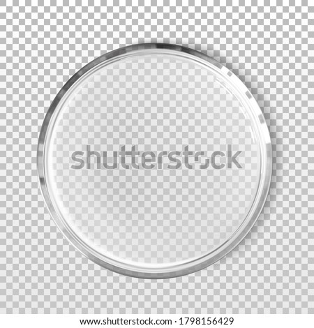 Empty petri dish isolated realistic vector illustration. Concept laboratory tests and research. Transparent chemistry glassware