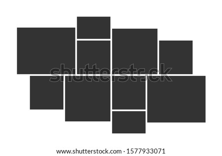 Empty photo collage template of 10 parts. Vector poster frame mockup. Ten photos. Stockfoto ©