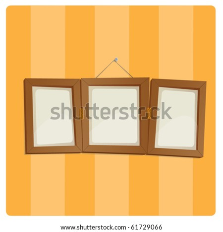empty photo frame on striped