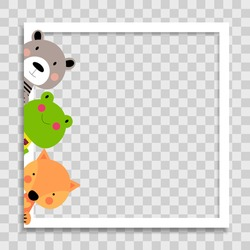 Empty Photo Frame with Cute animal frog, bear and fox Template for Media Post  in Social Network. Vector Illustration