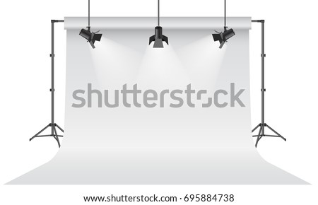 Empty photo studio. Realistic 3D white backdrop paper with tripod mock up design. Gray background. Vector illustration.