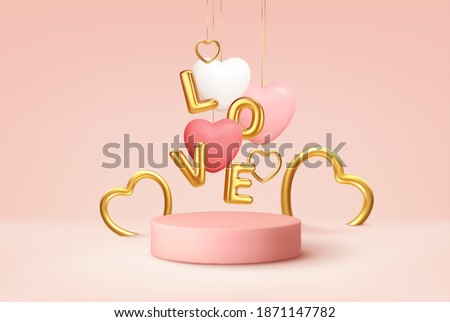 Empty pink product podium scene with pink and white heart shape balloons and gold word love balloons. Design concept for Happy Valentines Day. Vector illustration EPS10