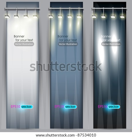 Empty placard for product advertising with lighting - stock vector