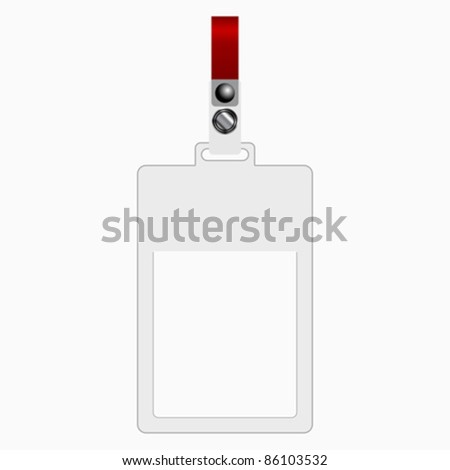 Empty plastic tag over white background