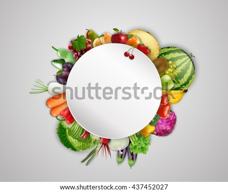 Empty plate with fruits and vegetables.Vector
