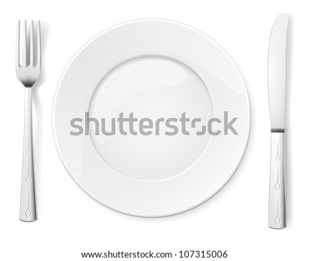 Empty plate with knife and fork. Illustration for design on white background