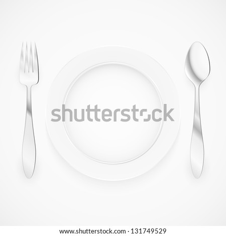 Empty plate with spoon and fork. Illustration for design on white background.
