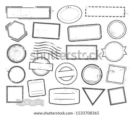 Empty postal stamps linear vector icons set. Grunge imprints outline symbols with copyspace. Blank vintage seals contour drawings collection. Mail, documents and correspondence insignia