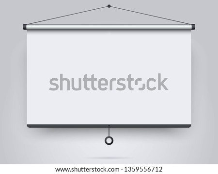 Empty projection screen on the wall background. Mock up template for your design. Concept of presentation board, advertising, blank whiteboard for conference and projects. Vector illustration