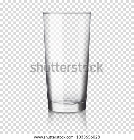 Empty realistic transparent glass for water, juice or milk.