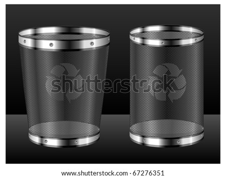 Empty recycle bins with emblem isolated on black background, vector illustration