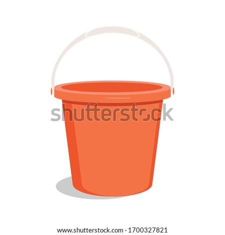 Empty red bucket. Bucket for garden. Vector ストックフォト ©