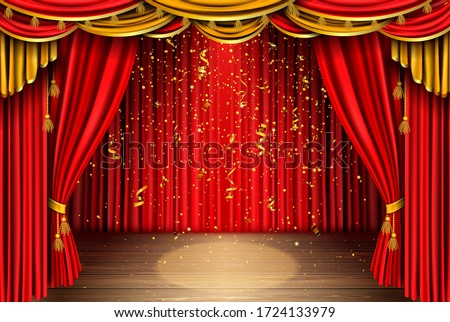 Empty red curtain stage with golden confetti falling on wooden floor with spotlight. Theater, opera scene with drape, concert or cinema grand opening realistic vector portiere for ceremony performance