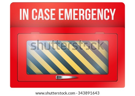 empty red emergency box with in
