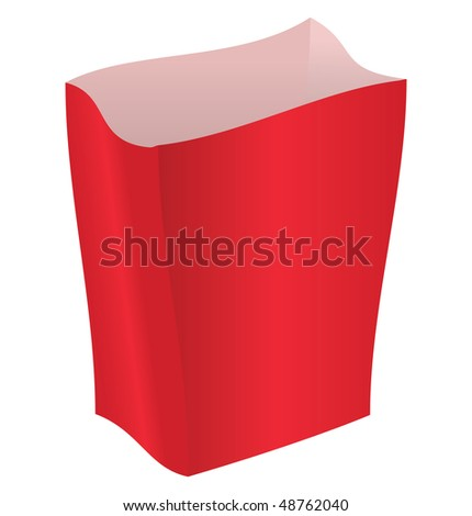 Empty red package on a white background