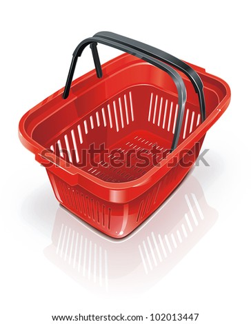 Empty red shopping plastic basket for food. Isolated Vector illustration on white background.