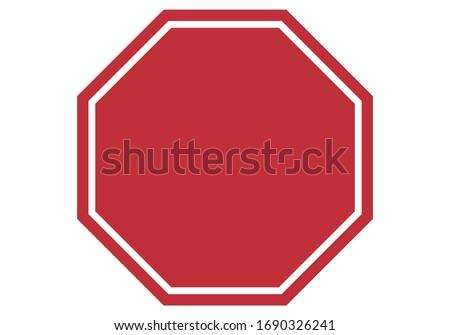 Empty red stop sign on white background. Zdjęcia stock ©