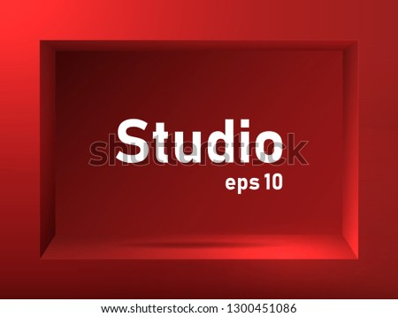Empty red studio background with square groove. Free space for product presentation. Vector illustration.