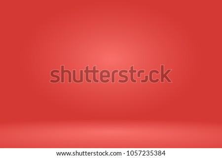 Empty red studio room background. Vector illustration