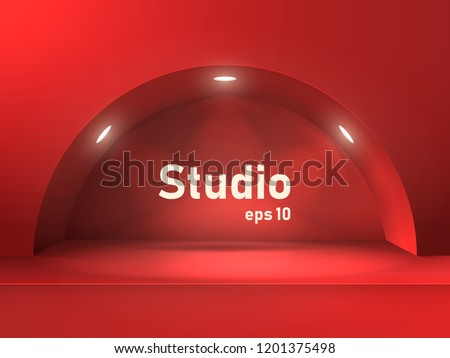 empty red studio table with an