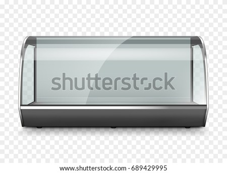 Empty refrigerator display showcase. Isolated on transparent background