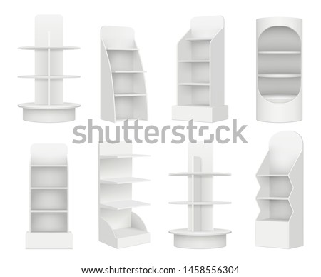 Empty retail shelves. Bookstore supermarket stand for promotion merchandising marketing vector realistic mockup. Shop and store shelf or stand for product illustration