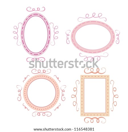 Empty retro vector frames set. Cute pink, orange and violet whimsy hand drawn design elements for picture or text on website, wedding invitation, valentines or baby shower card