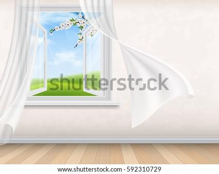 empty room interior with open