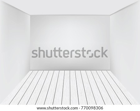 empty room space background with white wall and wooden floor vector